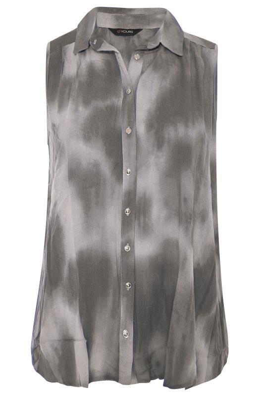 Plus Size  Grey Tie Dye Sleeveless Shirt
