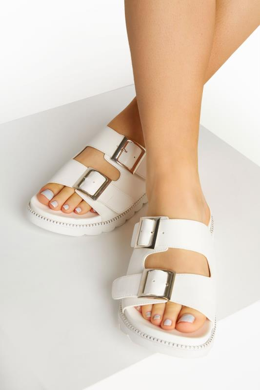 Yours LIMITED COLLECTION White Stud Buckle Sandal In Extra Wide Fit