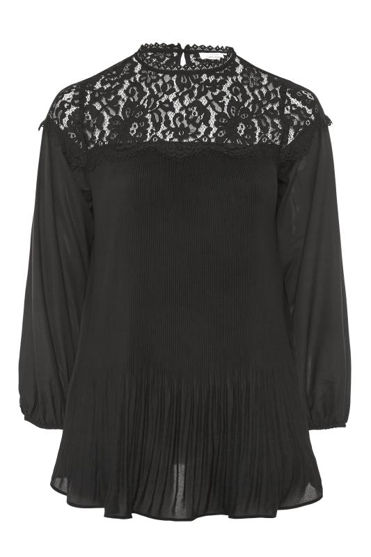 YOURS LONDON Black Lace Pleat Tunic_F.jpg