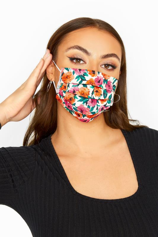 Tallas Grandes Pink & Orange Floral Pleated Cotton Face Mask
