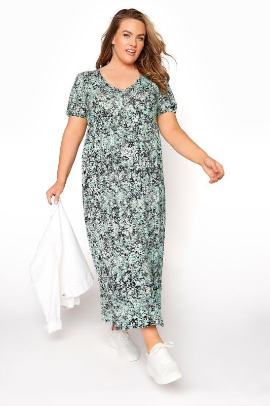 YOURS LONDON Green Floral V-Neck Frill Hem Dress_B.jpg