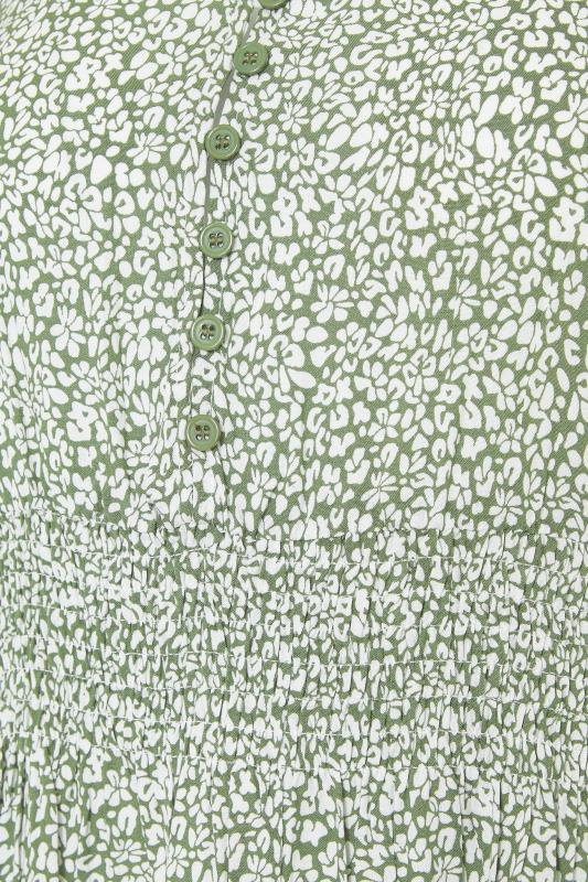 LTS Maternity Sage Green Ditsy V-Neck Button Tiered Midi Dress_s.jpg