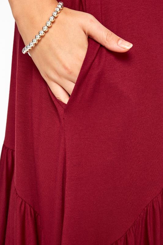Burgundy Frill Hanky Hem Dress
