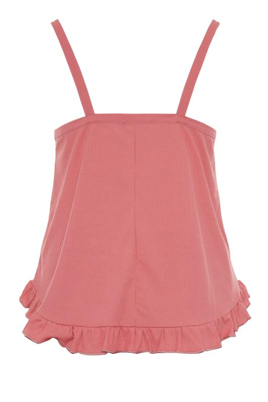 LIMITED COLLECTION Pink Frill Ribbed Pyjama Top_BK.jpg