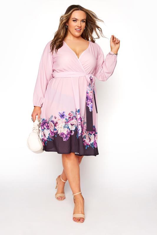 Plus Size  YOURS LONDON Purple Floral Border Wrap Dress