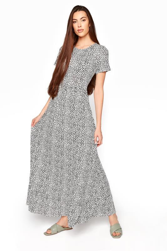 Tall  LTS Black Animal Print Tiered Maxi Dress
