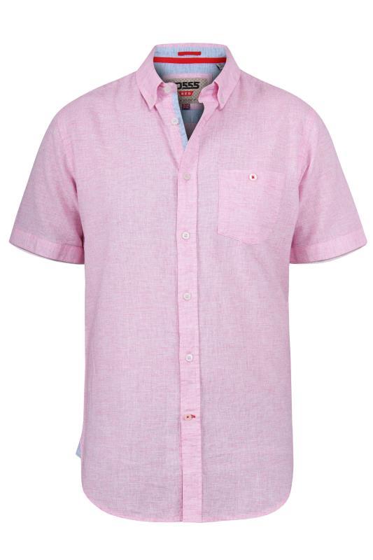Men's  D555 Pink Linen Short Sleeve Shirt