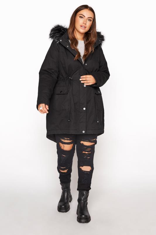Black Faux Fur Trim Hooded Parka_RB.jpg
