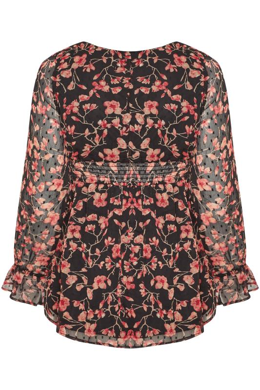 Black & Red Floral Dobby Shirred Blouse