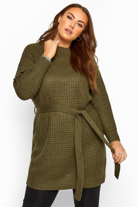 Khaki Belted Knitted Tunic Jumper