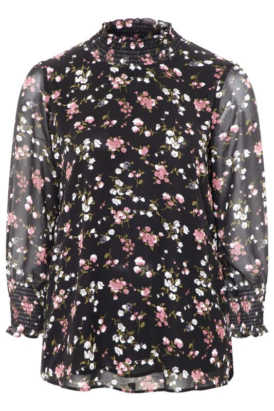 YOURS LONDON Black Floral Shirred High Neck Chiffon Blouse