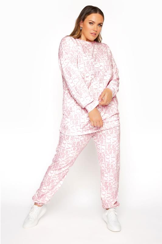 LIMITED COLLECTION Pink 'Love' Printed Joggers