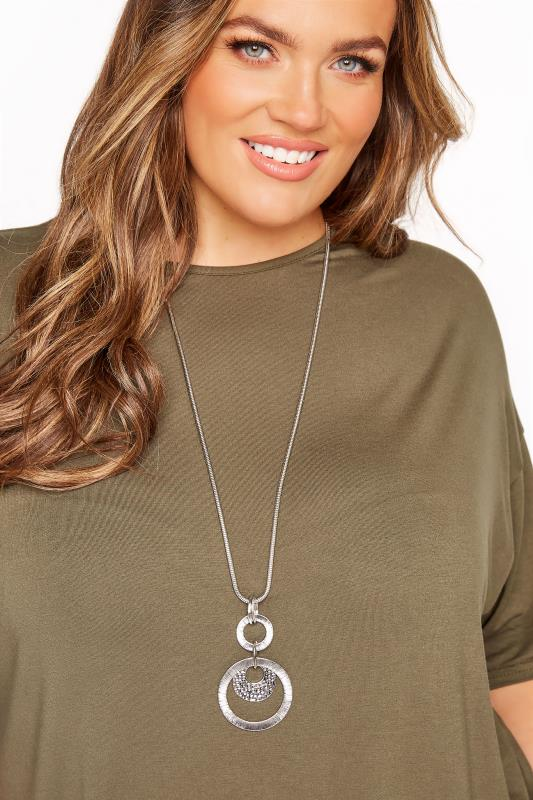 Silver Hammered Disc Long Necklace