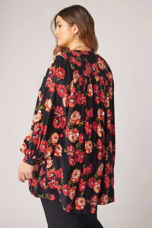 THE LIMITED EDIT Black Floral Smock Tiered Shirt_C.jpg