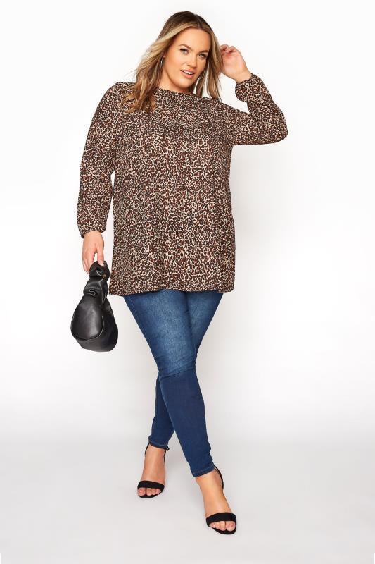 YOURS LONDON Brown Leopard Print Blouse_B.jpg