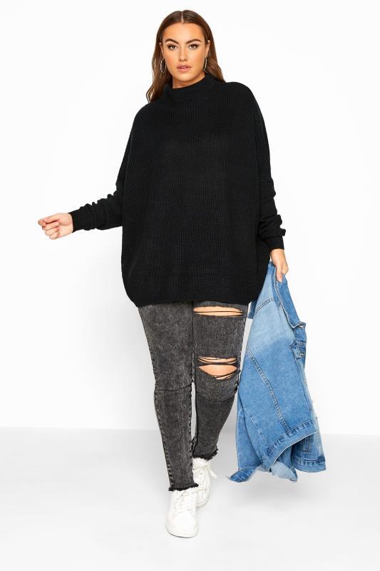 Black Oversized Knitted Jumper
