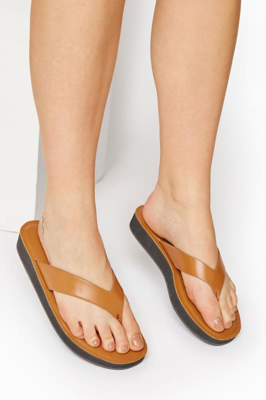 Tall  LTS Tan Toe Thong Sandal