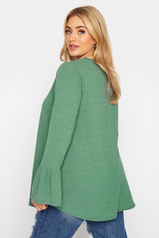 LIMITED COLLECTION Sage Green Ribbed Flare Long Sleeve Top_C.jpg