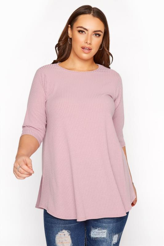 LIMITED COLLECTION Mauve Purple Ribbed Swing 3/4 Length Top