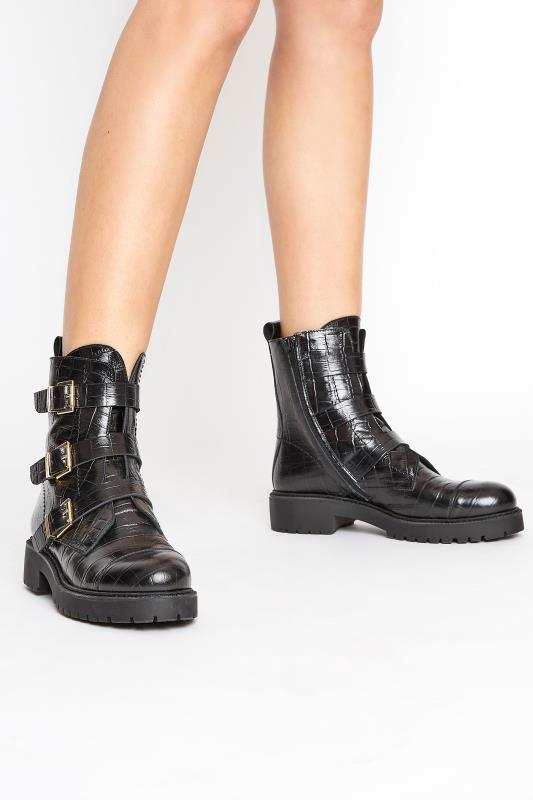 Tall  Black Leather Croc Buckle Strap Boots