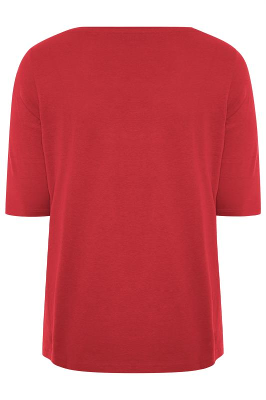 Red V-Neck Cotton Top