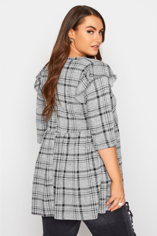 Grey Check Frill Knitted Peplum Top_C.jpg