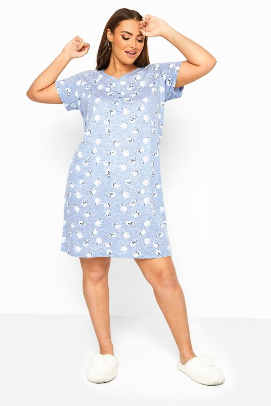 Plus Size  Blue Glitter Polar Bear Nightdress