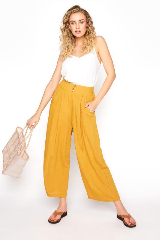 LTS Ochre Yellow Linen Blend Button Pleat Front Culottes_A.jpg