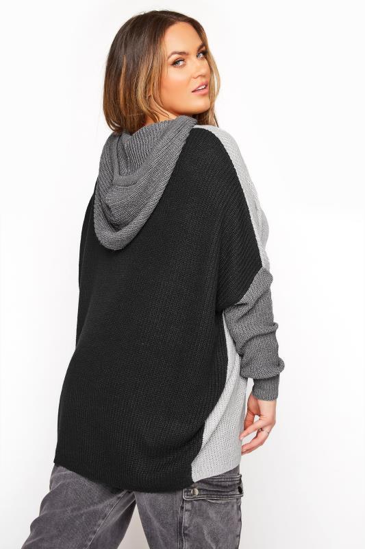 Grey Colour Block Oversized Knitted Hoodie_C.jpg
