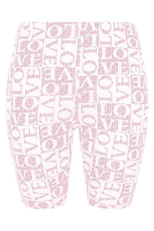 LIMITED COLLECTION Pink 'Love' Printed Cycling Shorts_F.jpg
