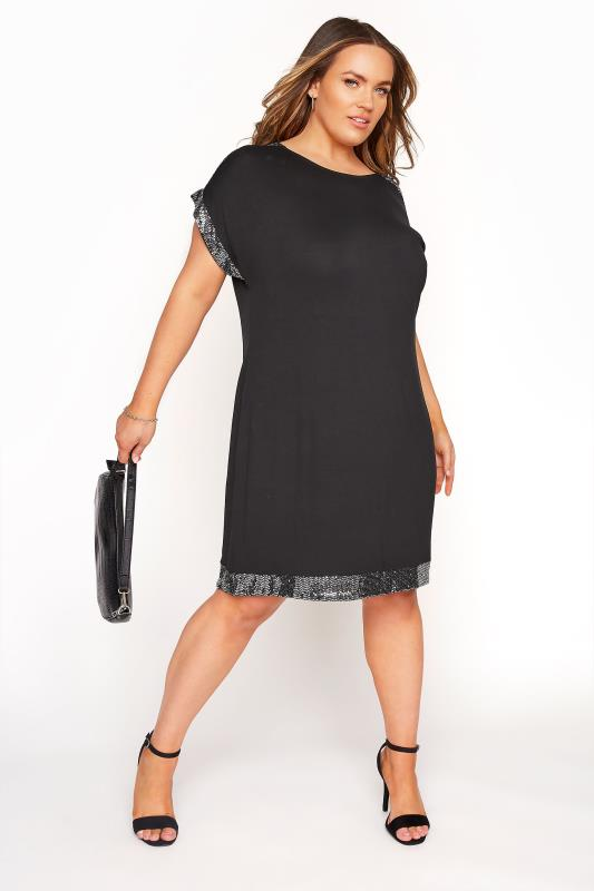 Black & Silver Sequin Trim Tunic