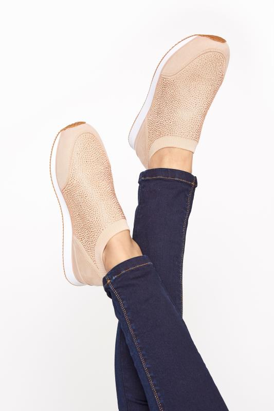 Tall  Nude Sock Style Diamante Trainers