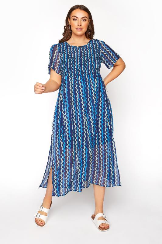 LIMITED COLLECTION Navy Shirred ZigZag Stripe Maxi Dress