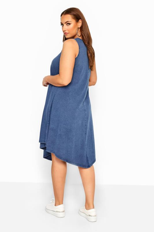 Blue Chambray Denim Look Swing Dress
