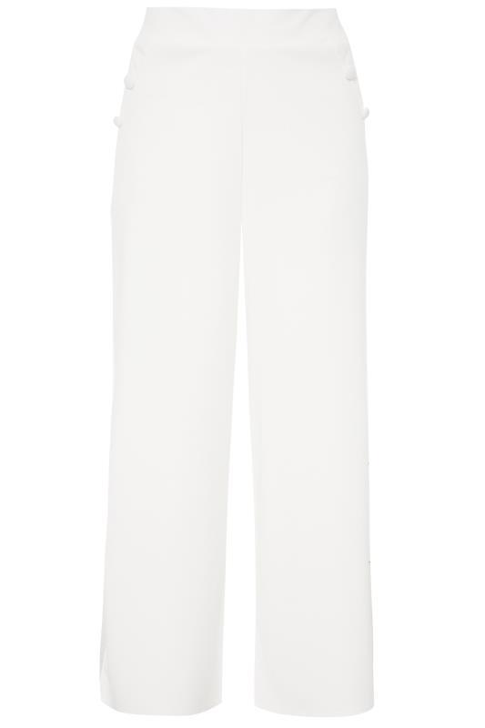 Plus Size  YOURS LONDON White Button Scuba Crepe Wide Leg Trousers