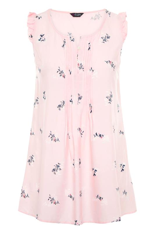 Plus Size  Pink Floral Pintuck Front Ruffle Sleeveless Top