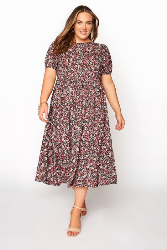 dla puszystych YOURS LONDON Red Ditsy Floral Smock Dress