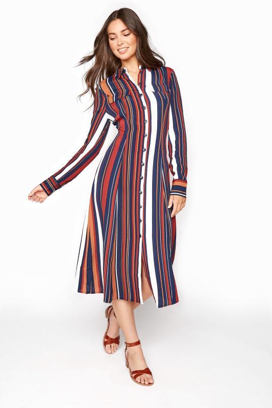 Tall Shirt Dress Navy Stripe Print Shirt Dress