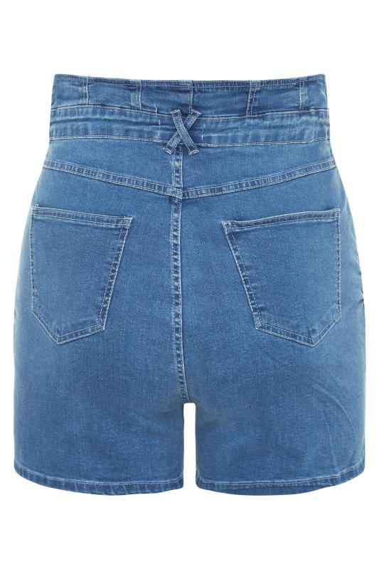 Mid Blue Corset High Waist Denim Shorts_bk.jpg