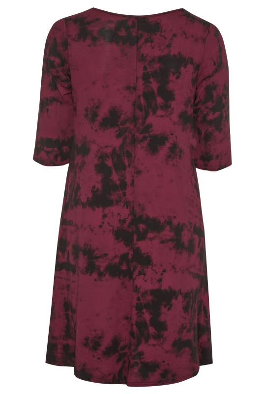 Burgundy Tie Dye Drape Pocket Dress