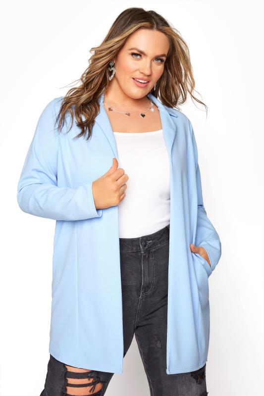 Plus Size  Summer Blue Longline Blazer