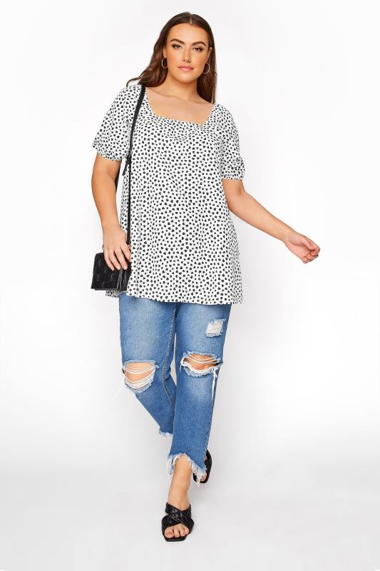 LIMITED COLLECTION White Square Neck Heart Print Milkmaid Top