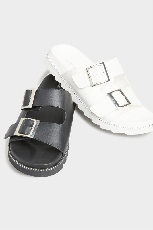 LIMITED COLLECTION White Stud Buckle Sandals In Extra Wide Fit_E.jpg