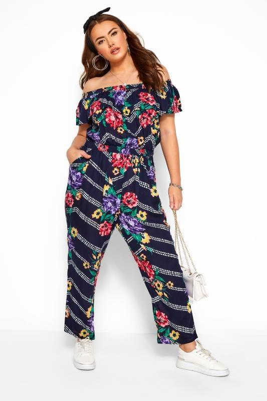 Plus-Größen Jumpsuits Navy Floral Chevron Print Bardot Crinkle Jumpsuit