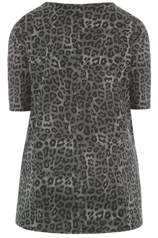 Grey Animal Print Soft Touch Top