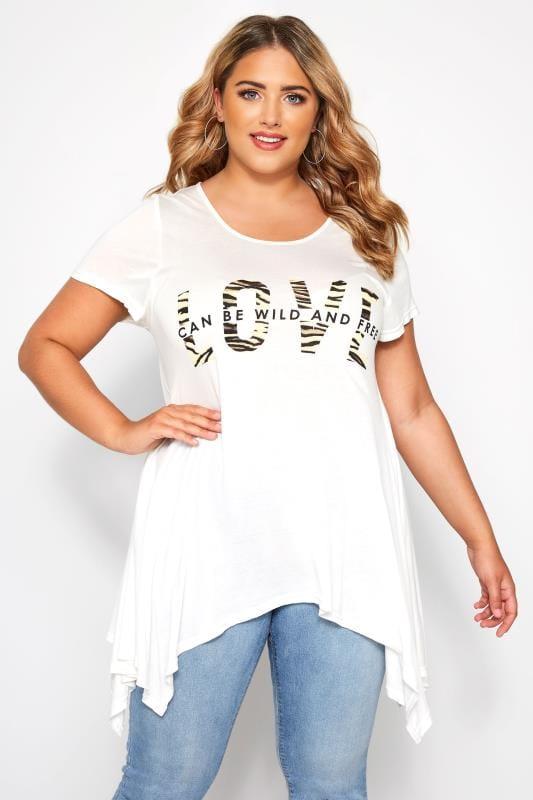 SIZE UP White Animal Slogan Hanky Hem T-Shirt