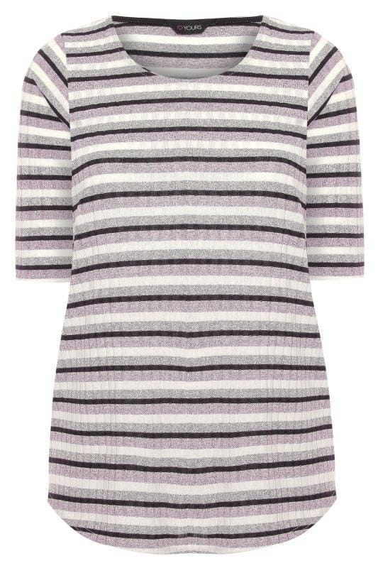 Pink & Grey Stripe Top