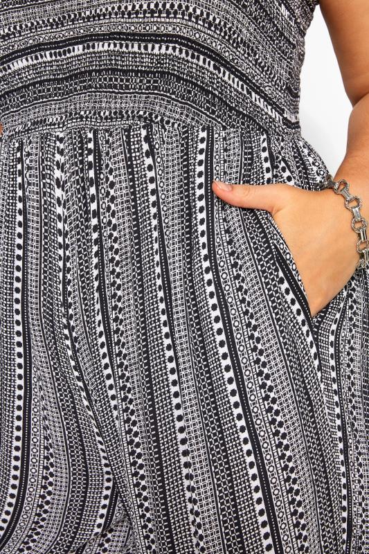 Black & White Aztec Print Shirred Jumpsuit