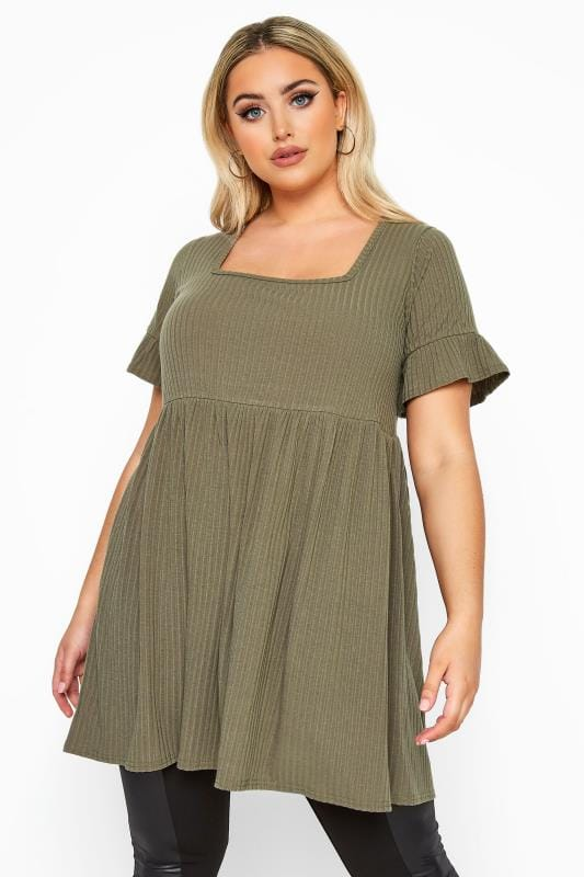 Plus Size Jersey Tops LIMITED COLLECTION Khaki Ribbed Square Neck Smock Top