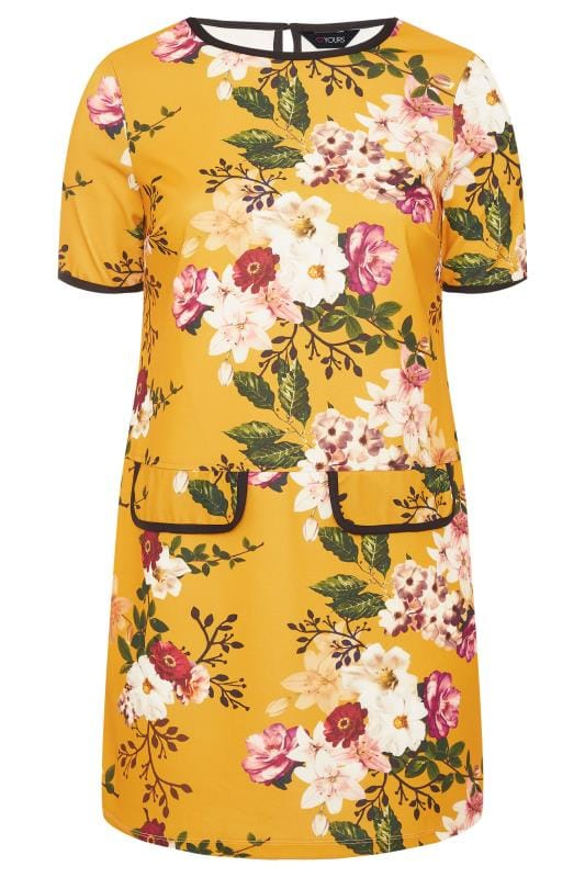 Plus Size Tunics Mustard Floral Print Mock Pocket Tunic